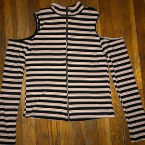 Striped Zip Up Long Sleeve
